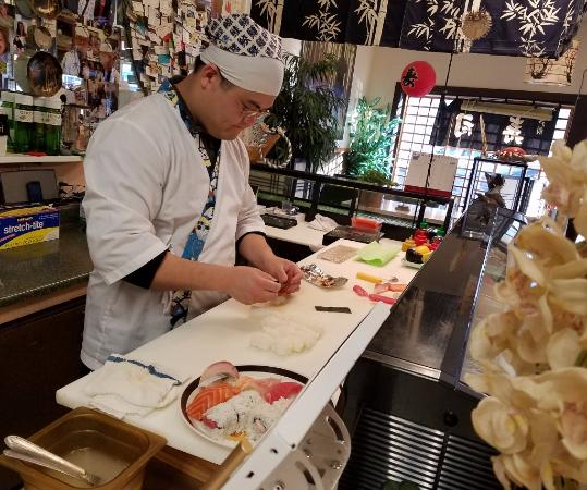 Roseburg, OR: Preparing a super plate to go. 10 pieces of nigiri (1 of 2)