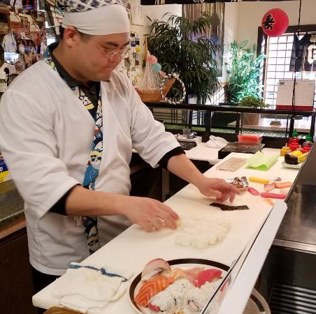 Roseburg, OR: Preparing a super plate to go. 10 pieces of nigiri (2 of 2)