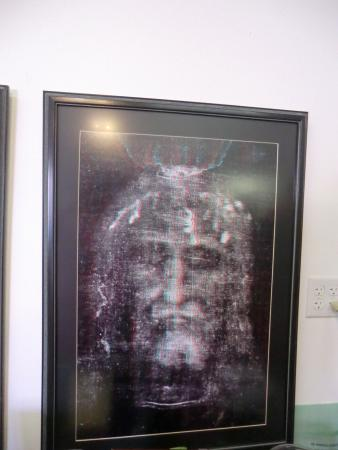 Shroud Exhibit and Museum: Jesus's face imprinted (negative) on the cloth