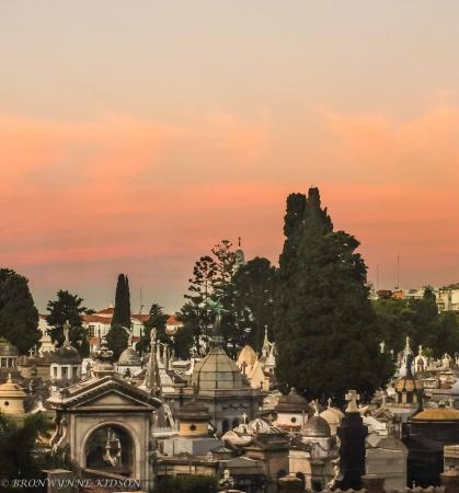 Dazzler Recoleta: Cemetery where Eva Perron is Buried viewed from our room at dusk