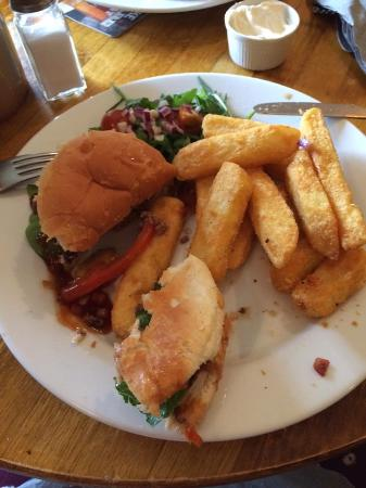 Flitwick, UK: Burger with monkeygland sauce - yummy!