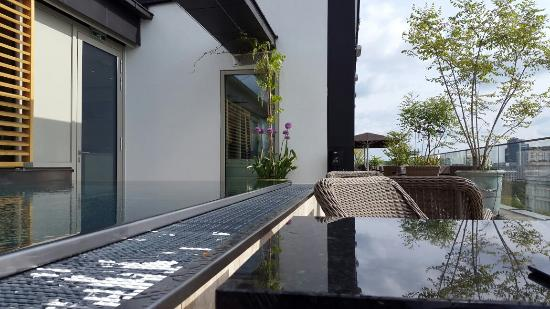 rooftop area and outdoor pool of the grand ferdinand bild von grand ferdinand wien tripadvisor. Black Bedroom Furniture Sets. Home Design Ideas