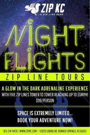 Bonner Springs, KS: Night Zip lines