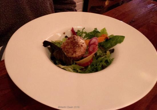 Auburn, AL: Monkfish daily special, crab cakes with cauliflower gratin and fingerling potatoes, goat cheese