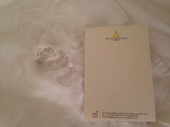 The Taj Mahal Palace: bath towel with big hole in