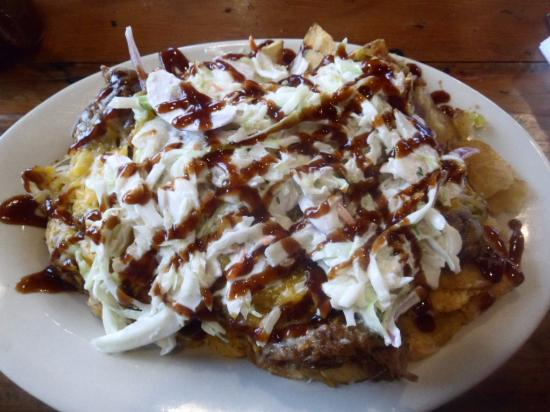 Bridgeport, WV: This was huge...sweet BBQ pulled pork, cole slaw on top, and inside with relish, melted cheese,