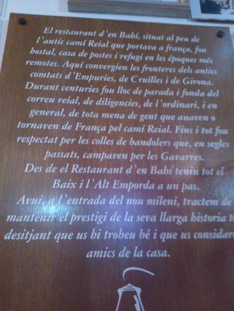 La Pera, España: Breve recorrido de la historia del Restaurante d'en Bahí