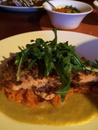 Hackensack, NJ: Salmon with sweet potato, pineapple and salsa verde