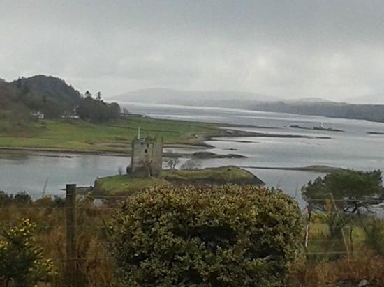 Appin, UK: Castle Stalker when the sun came out after a rainstorm.