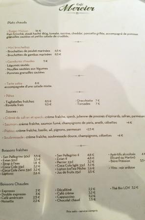 Cafe Mercier: La carte du jour Verso
