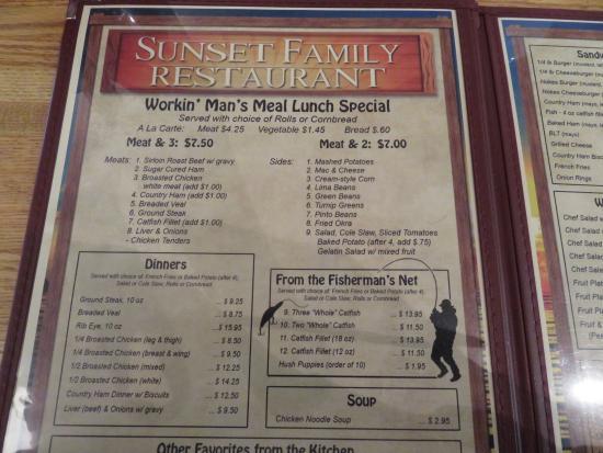 Lebanon, TN: Menu - pg. 1 Sunset Family Restaurant