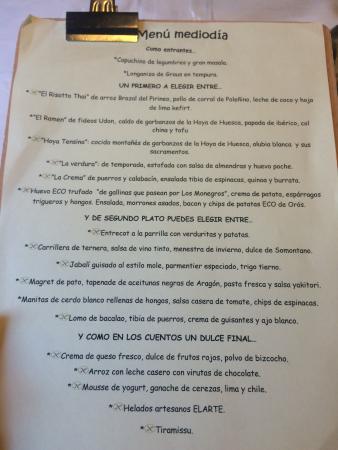 Formigal, Spain: menú