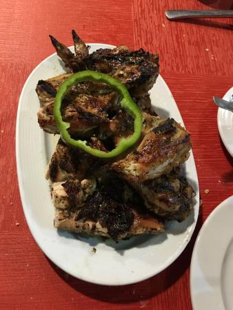 Firgas, España: Whole roasted jointed chicken.