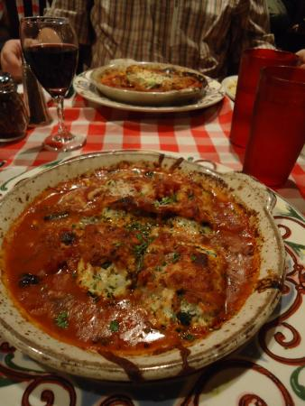 Eggplant in front, chicken parm in rear