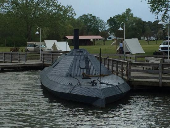 Plymouth, NC: CSS Albemarle with Confederate tents in the background