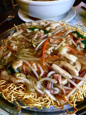 Port Coquitlam, Canada: Hot and sour soup, fried squid and chow mien.