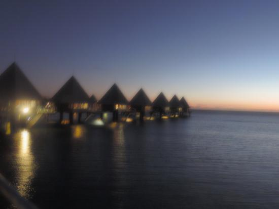 The overwater bungalows at sunset, amazing