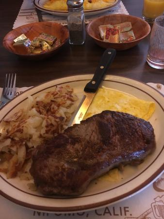 Nipomo, CA: Small steak & eggs breakfast. Comes with hash browns, 2 scrambled eggs, juice, biscuit & Jocko B