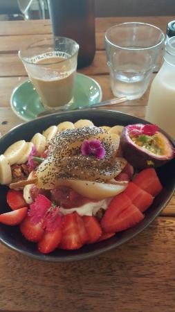 great coffee and breakfast granola, yogurt, fruit, rhubarb etc