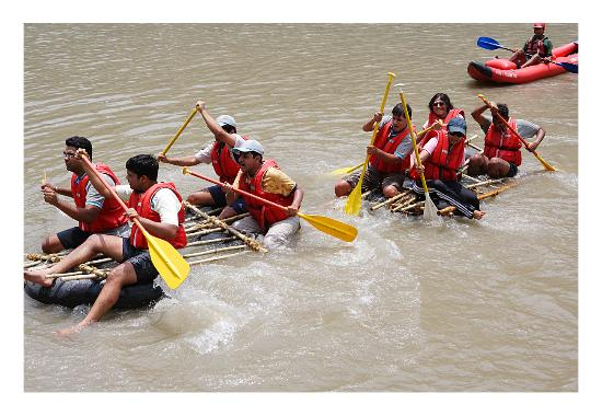 Camp Panther Rishikesh: Activities - raft building and river crossing