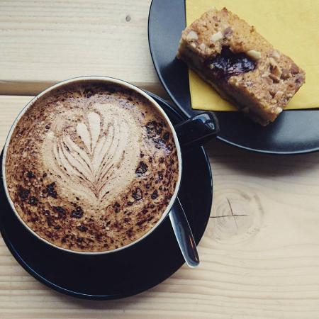 Wrexham County, UK: Mocha and Raspberry Bakewell