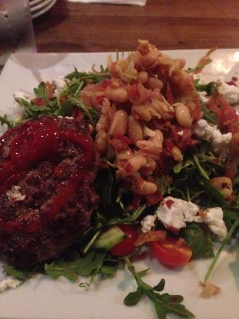 Fairfield, CT: White bean and arugula salad with 6oz burger patty