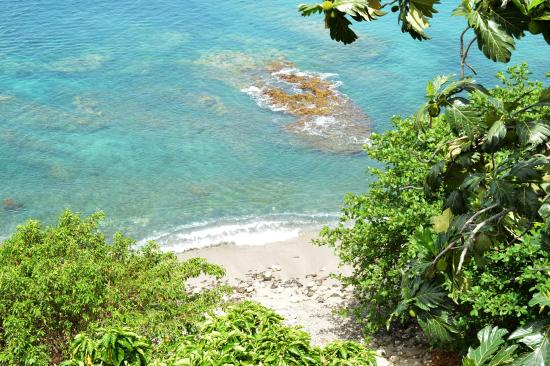 Casa del Vega: Looking down onto the cove beach from the communal porch.