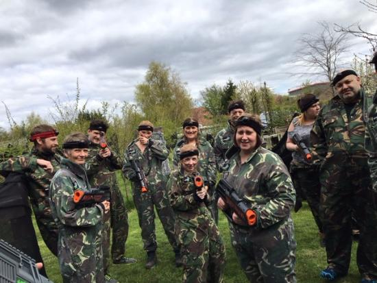 Battlefield Leeds: Part of the team, holding the laser guns they provide