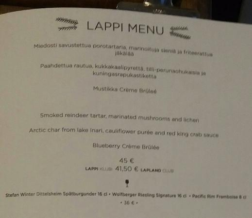 Lapland Hotel Riekonlinna: Lappi Menu