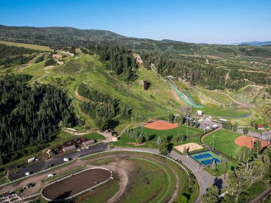 Howelsen Hill Ski Area: Summer aerial view of Howelsen Hill by Cedar Beauregard