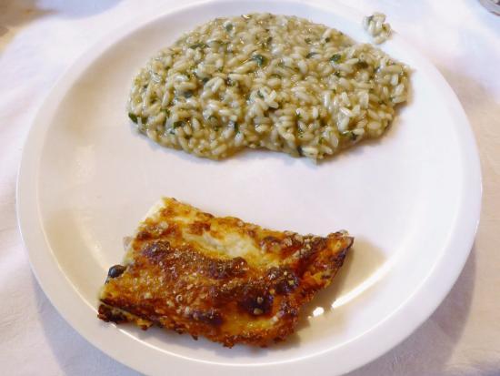 Badia Pavese, Italia: Le crespelle ai funghi ed il risotto alle ortiche