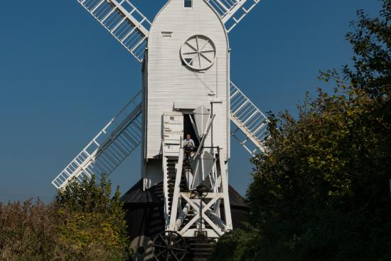 Hassocks, UK: Man sitting the top step of Jill Mill looking south
