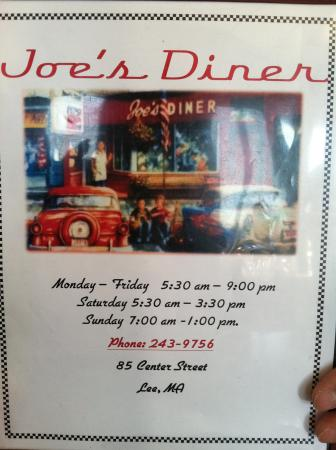 Joe's Diner: Diner menu cover with hours and phone number
