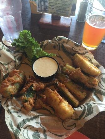 Hop Jack's: Zucchini tempura... TDF.  (To die for).  You must try this appetizer.  Plenty for two.