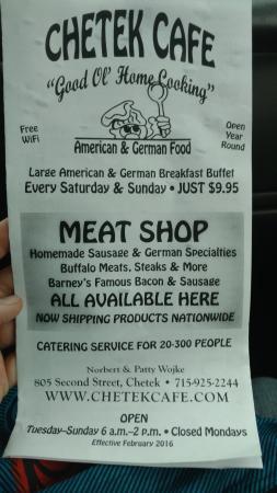 Chetek Cafe & Meat Shop : Chetek Cafe