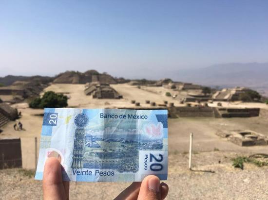 Monte Albán en billetes de 20 pesos mexicanos