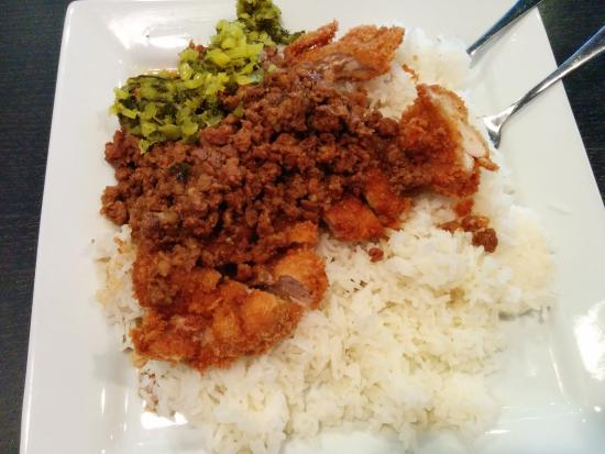 North Brunswick, Nueva Jersey: Braised Pork and Chicken Katsu with Rice
