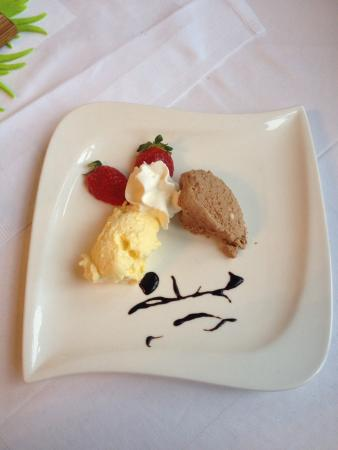 Philippsheim, Germany: A new desert every time. This time it was mousse, strawberries and cream. Never anything less th