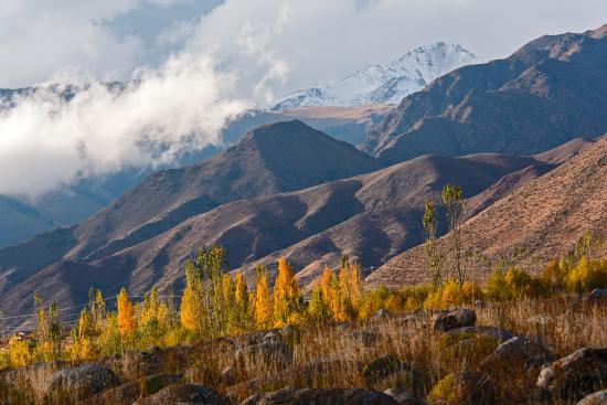 Cholpon Ata, Kirguistán: panorama sulle montagne attorno al parco