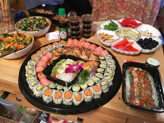 Wayzata, MN: The large take-out Sushi platter is from Sakana, as well as the excellent Beef Tataki next to it
