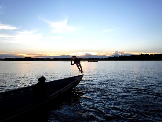 Siona Lodge: Swimming in the black lagoon at sunset