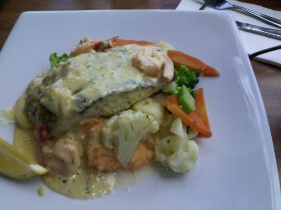 Urangan, Australien: Barramundi with scallops, prawn's in creamy garlic sauce.