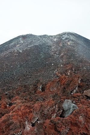 Krakatau Volcano (Krakatoa): lava flow looking up to the crater
