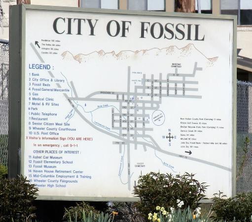 The info board at the city of Fossil, Oregon.