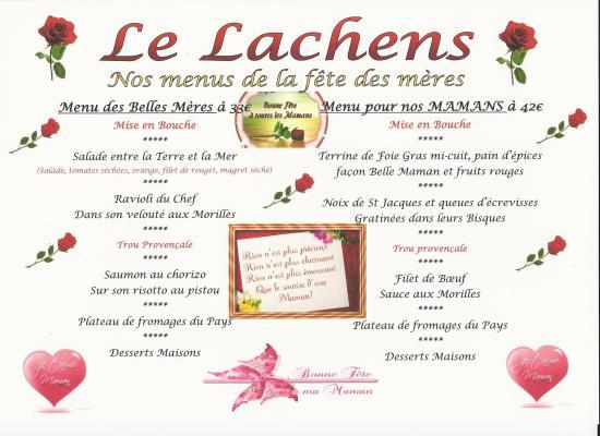Hotel Du Lachens: Menu Fête des Mères