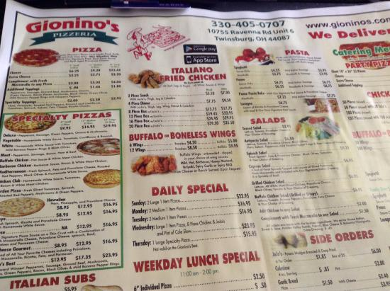 Twinsburg, OH: menu 1