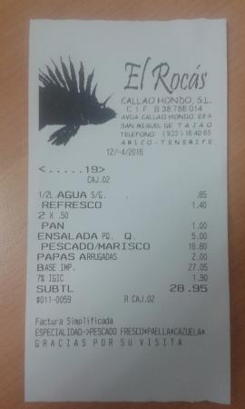 Arico, Spanien: the bill