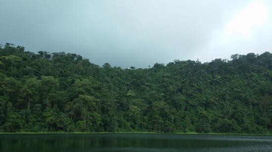 Tirimbina, คอสตาริกา: Vista desde abajo al llegar a la laguna
