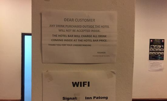Inn Patong Beach Hotel Phuket: No drinks or food