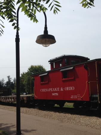 Kokosing Gap Trail: Railway exhibit at the Gambier stop.